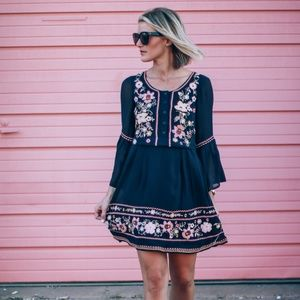 French Connection sunshine bell embroidered dress